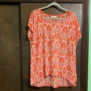 Orange Geometric Print Shirt- Size 2x